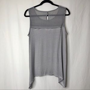 Dana Buchman sleeveless black/white striped top L